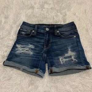American Eagle Dark Washed Cuffed Jean Shorts